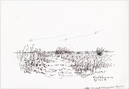 "Henk Werner, pentekening ""bij Nes Ameland"" afm. ca. 18 x 26 cm."