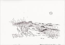 """Henk Werner, pentekening """"Noordzeeduinen bij Nes"""" afm. ca. 18 x 26 cm."""