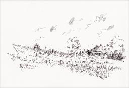 """Henk Werner, pentekening """"bij Wilsum"""" afm. ca. 18 x 26 cm."""