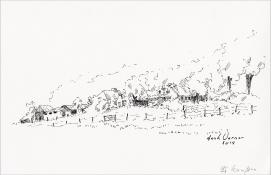 """Henk Werner, pentekening """"bij Kampen"""" afm. ca. 18 x 26 cm."""