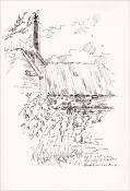"""Henk Werner, pentekening """"op het erf van Hendrik Westra"""" afm. ca. 18 x 26 cm."""