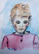 "Atty Kraeima, aquarel op papier ""Sarah"" afm. 10 x 15 cm."