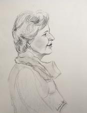 """Louis Bramer, conté-tekening, """"portret dame"""", afm. 30 x 40 cm."""