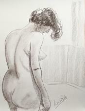 "Louis Bramer, conté-tekening, ""staande Eva"", afm. 30 x 40 cm."