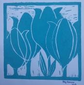 """Atty Kraeima, linosnede """"Tulpen"""" afm. 16 x 16 cm."""