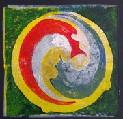"Bea van Dillen, linosnede ""Yin Yan"", afm. 25 x 25 cm."
