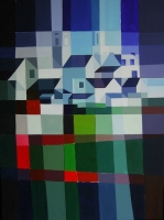"Tom Kuper, acryl ""Bergdorp Frankrijk"" afm. 80 x 60 cm."