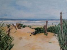 """Bea van Dillen, acrylschilderij """"duin Frankrijk"""", afm. 30 x 40 cm."""