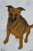 """Bea van Dillen, linosnede """"hond"""", afm. 30 x 20 cm."""
