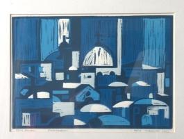 "Tom Kuper, lino ""Jeruzalem"" afm. 25 x 35 cm."