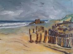 """Bea van Dillen, acrylschilderij """"kust Frankrijk"""", afm. 30 x 40 cm."""
