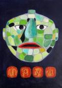 """Bea van Dillen, acrylschilderij """"masker mayacultuur"""", afm. 50 x 40 cm."""