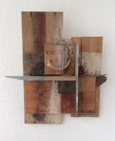 "Tom Kuper, materie ""werk"" afm. 30 x 40 cm."