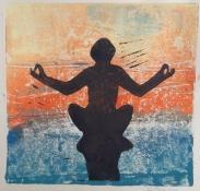 """Bea van Dillen, lino-snede """"meditatie"""", afm. 25 x 25 cm."""