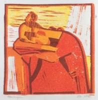 "Tom Kuper, lino ""meisje"" afm. 15 x 15 cm."