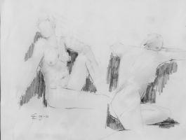 """Carin Westendorp, conté-tekening """"modelstudie"""" afm. 30 x 40 cm."""
