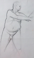 "Tom Kuper, conté-tekening ""naakt"" afm. 35 x 25 cm."