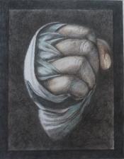 """Thera Klooster, kleurpotlood op wit papier """"op de vuist"""" afm. 32 x 25cm."""