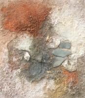 """Carin Westendorp, materiewerk """"vondst"""" afm. 60 x 60 cm."""