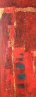 "Carin Westendorp, acryl ""zonder titel"" afm. 30 x 80 cm."