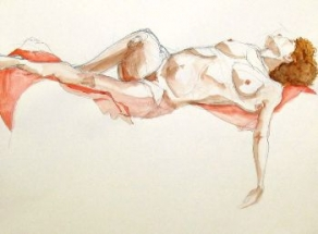 "Henk Schuurman, aquarel ""model 15"" afm. 65 x 50 cm."