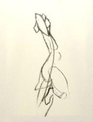 """Henk Schuurman, houtskool """"dans"""" afm. 40 x 50 cm."""
