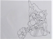 Hetty Diender, Anemoon, pentekening, 40 x 30