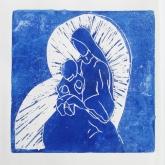Hetty Diender, Maria met kind, linosnede, 17 x 17 cm