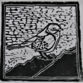 Hetty Diender, Mus, linosnede, 17 x 17 cm