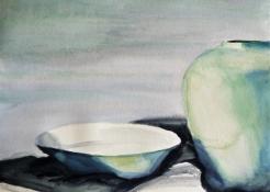 """Thera Klooster, aquarel """"de kom"""" afm. 36 x 27 cm."""