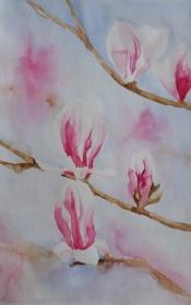 "Thera Klooster, aquarel ""tulpenboom"" afm. 30 x 48 cm."