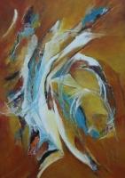 "Margriet Westendorp, acrylcollage op doek ""zonder titel"" afm. 70 x 50 cm."