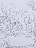 Hetty Diender, Schildpadden, pentekening, 29 x 20 cm