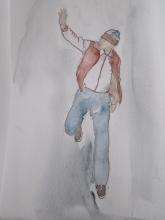 Hetty Diender, Zwaaiende man, aquarel, 20 x 13 cm