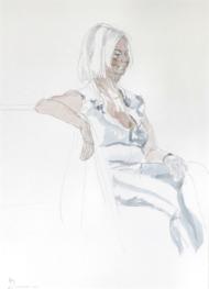 """Henk Schuurman, aquarel """"model 5"""" afm. 34 x 47 cm."""