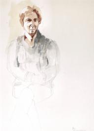 """Henk Schuurman, aquarel """"model 6"""" afm. 34 x 47 cm."""