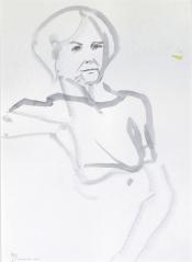 "Henk Schuurman, aquarel ""portret 2"" afm. 34 x 47 cm.(snelle schets)"