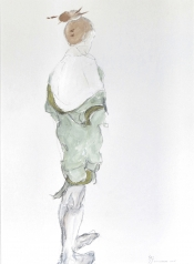 "Henk Schuurman, aquarel ""model 2 kimono"" afm. 34 x 47 cm."