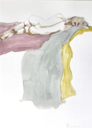 """Henk Schuurman, aquarel """"model 1"""" afm. 34 x 47 cm."""