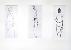 "Henk Schuurman, potlood/rietpen/penseel ""kimono"" afm. 11 x 29 cm. (3x)"