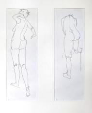 """Henk Schuurman, inkttekening """"model 3 en 4"""" afm. 15 x 48 cm. (2x)"""