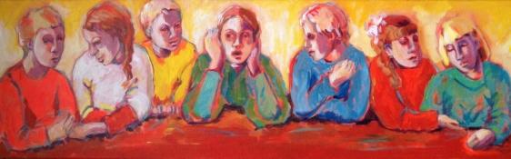 """Gerda van Dieren, acryl """"stil"""" afm. 30 x 100 cm."""