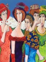 """Gerda van Dieren, acryl op paneel """"kerkgang"""" afm. 30 x 70 cm."""