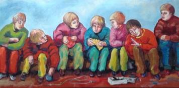 """Gerda van Dieren, acryl op paneel """"het dode vogeltje"""" afm. 70 x 33 cm."""