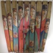"""Gerda van Dieren, gemengte techniek op hout """"vrouwen"""" afm. 100 x 100 cm."""