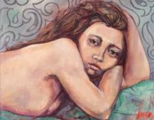"Gerda van Dieren, acryl ""naaktmodel"" afm. 75 x 75 cm."