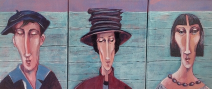 """Gerda van Dieren, olieverf """"schoonmoeder"""" afm. 75 x 30 cm."""