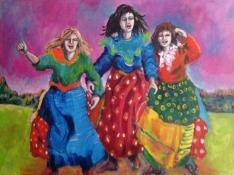 """Gerda van Dieren, acryl op doek """"Lets dance"""" afm. 80 x 100 cm."""