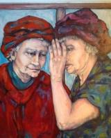 """Gerda van Dieren, olieverf """"Roddels III"""" afm. 90 x 75 cm."""