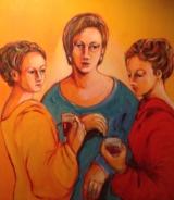 "Gerda van Dieren, acryl ""party"" afm. 80 x 80 cm."
